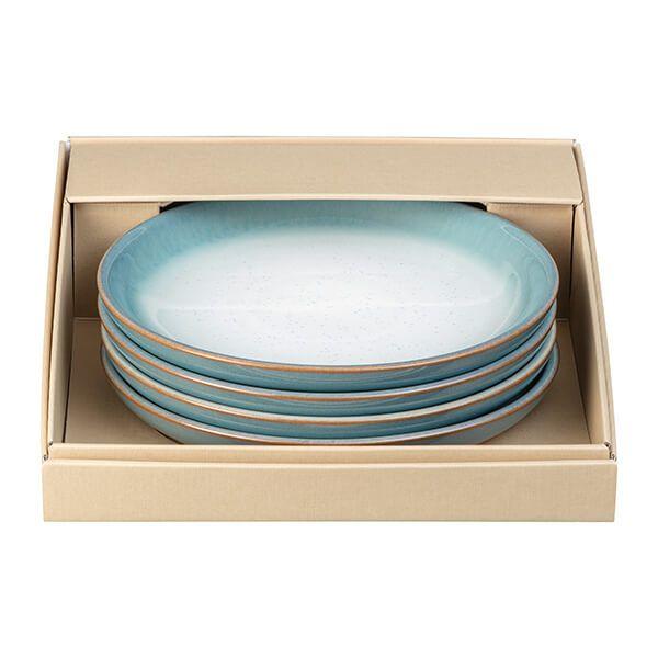 Denby Azure Haze 4 Piece Medium Coupe Plate Set