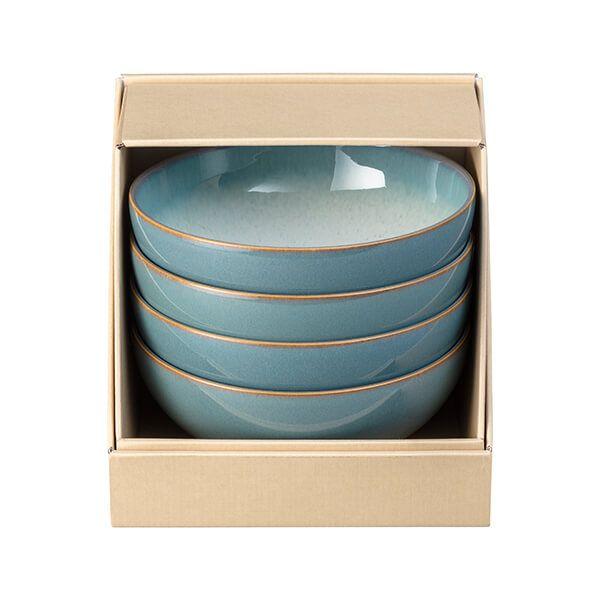 Denby Azure Haze 4 Piece Coupe Cereal Bowl Set