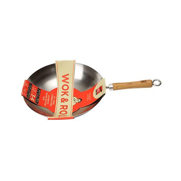 """School Of Wok Wok & Roll 13"""" / 30cm Non-Stick Carbon Steel Round Bottom Wok"""
