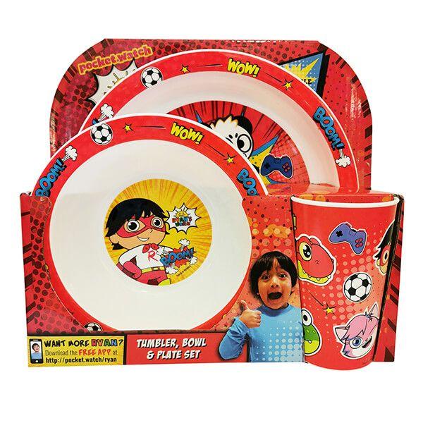 Ryan's World 3 Piece Children's Tableware Set