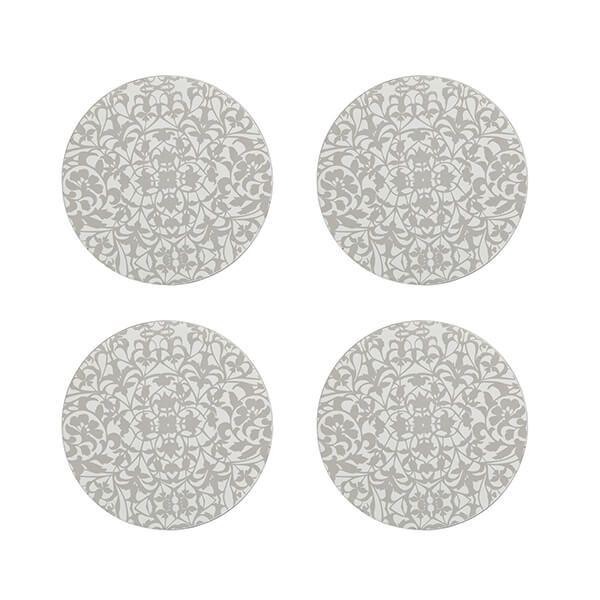 Denby Monsoon Filigree Silver Set Of 4 Round Coaster