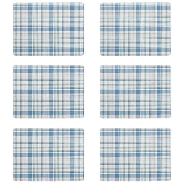 Denby Elements Checks Green / Blue 6 Piece Placemats