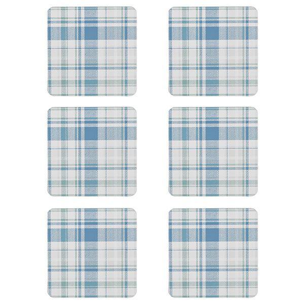 Denby Elements Checks Green / Blue 6 Piece Coasters