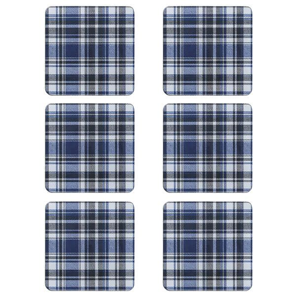 Denby Elements Checks Blue/Black 6 Piece Coasters