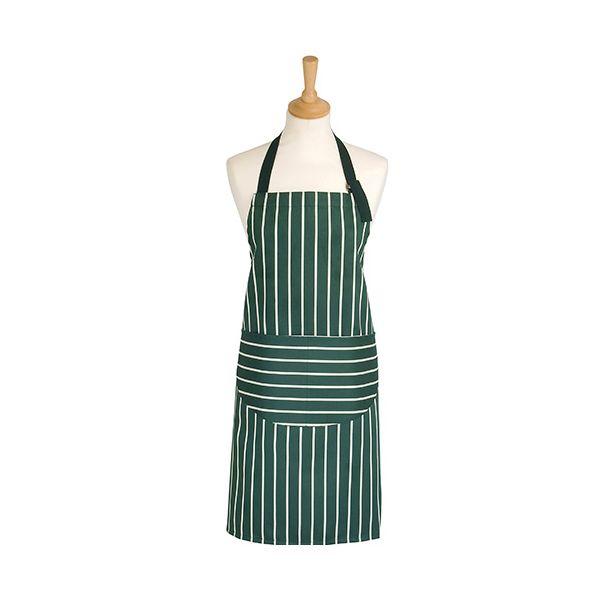 Dexam Rushbrookes Classic Butchers Stripe Adult Apron Green