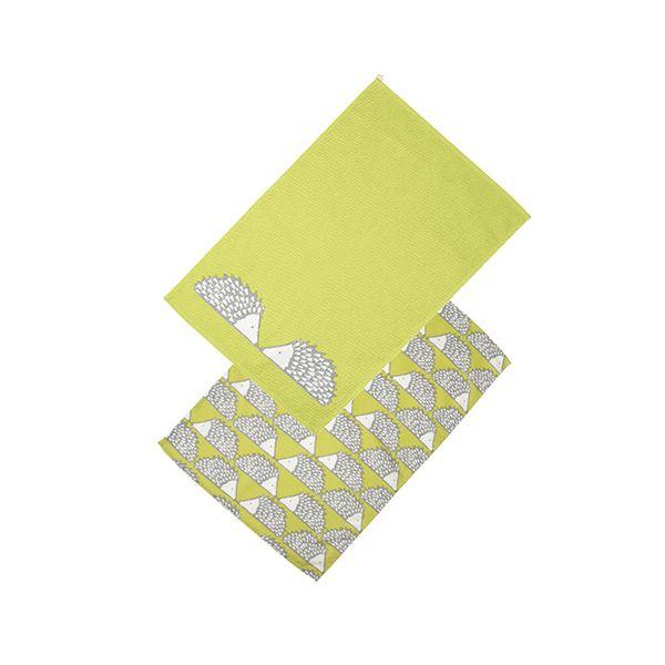 Scion Living Spike Set Of 2 Tea Towels Green