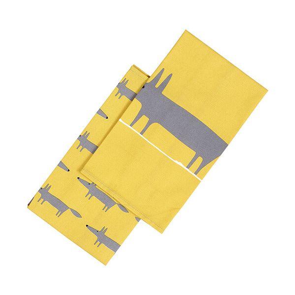Scion Living Mr Fox Set Of 2 Tea Towels Yellow