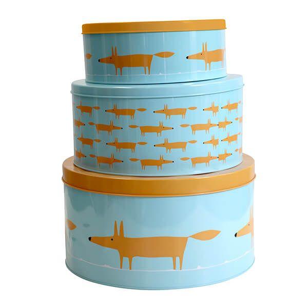Scion Living Mr Fox Cake Tins Set Of 3 Blue