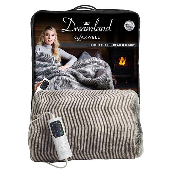 Dreamland Intelliheat Faux Fur Heated Throw Zebra