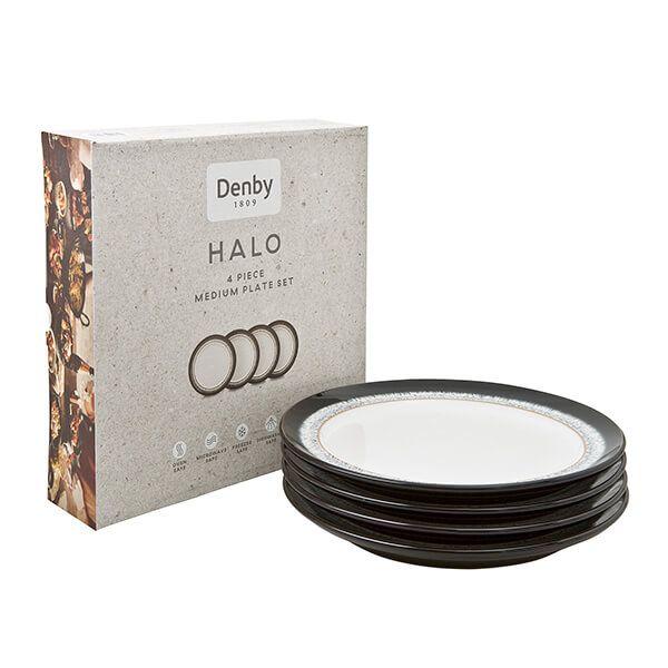 Denby Halo 4 Piece Medium Plate Set