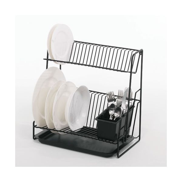 Delfinware Wireware Black 2 Tier Plate Rack