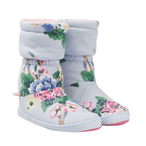 Joules Junior Light Blue Rabbit Floral Padabout Slipper Socks