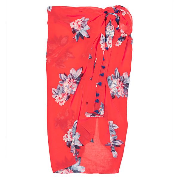 Joules Red Floral Sirena Sarong