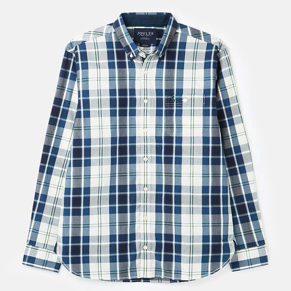 Joules Cream Blue Check Hewitt Long Sleeve Classic Fit Shirt