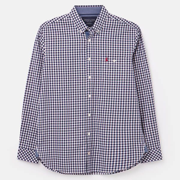 Joules Blue White Check Abbott Long Sleeve Classic Fit Peached Poplin Shirt