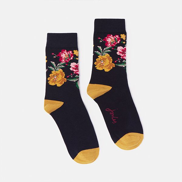 Joules Navy Gold Floral Brilliant Bamboo Socks