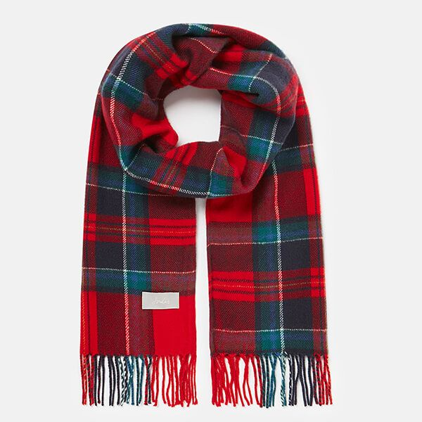 Joules Red Navy Check Bracken Check Woven Scarf