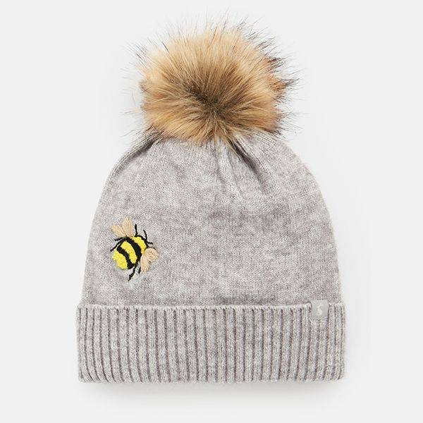 Joules Grey Embroidered Bee Stafford Embroidered Hat
