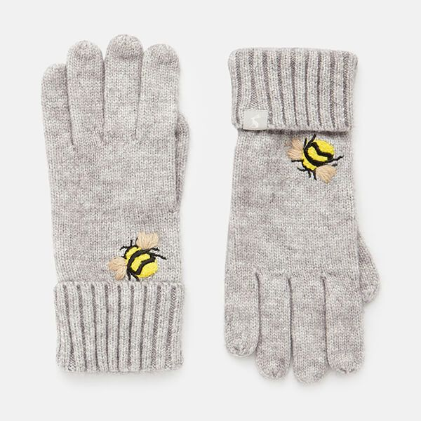 Joules Grey Embroidered Bee Stafford Embroidered Gloves