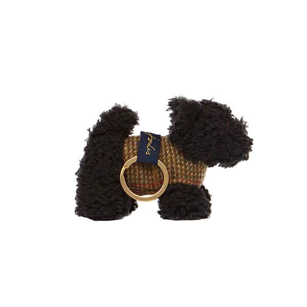 Joules Black Scottie Dog Tweedle Keyring