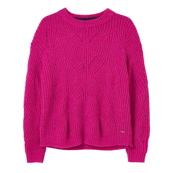 Joules Pink Clover Fluffy Pointelle Jumper