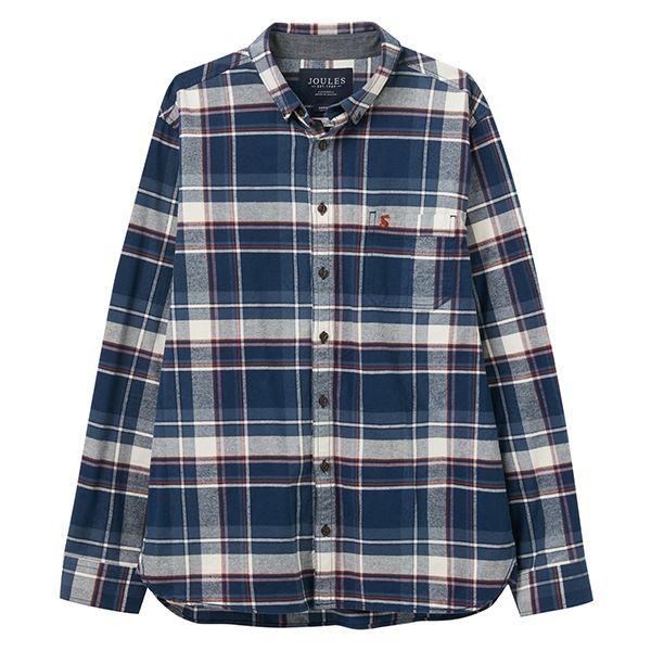 Joules Blue Orange Check Buchannan Classic Long Sleeve Classic Fit Shirt