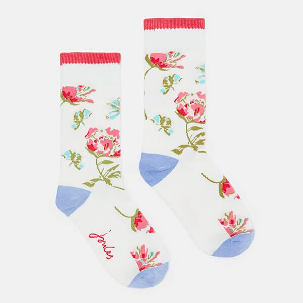 Joules Cream Florals Brill Bamboo Socks