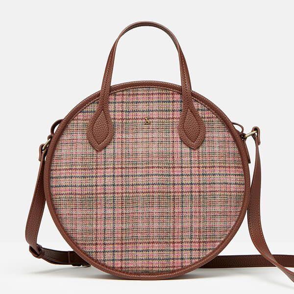 Joules Pink Tweed Fulbrook Round Mini Tweed Bag