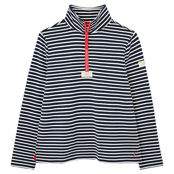 Joules Navy Cream Stripe Pip Casual Half Zip Sweatshirt