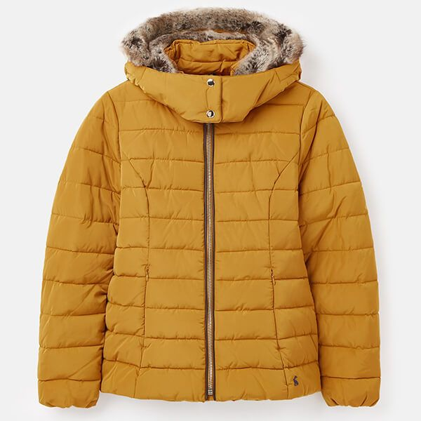 Joules Golden Cassington Padded Coat with Fur Collar and Hood