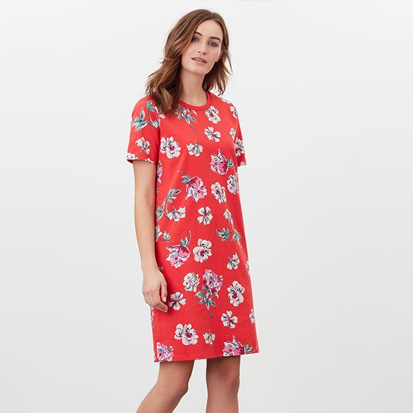 Joules Red Floral Liberty Print A Line Jersey Dress