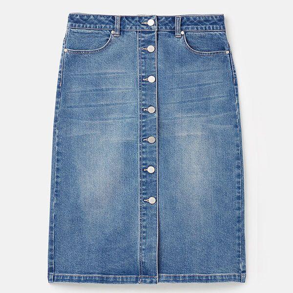 Joules Light Denim Francesca Denim Mid Length Skirt