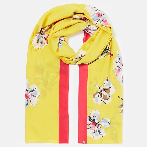 Joules Yellow Floral Conway Printed Scarf