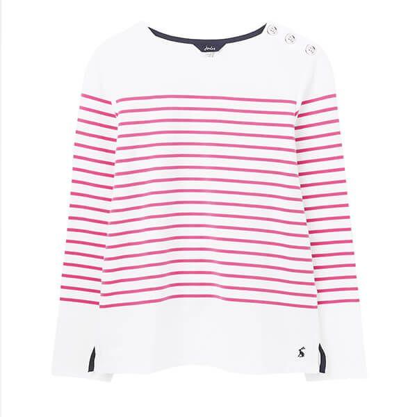 Joules Cream Pink Stripe Seacombe Button Shoulder Breton Top