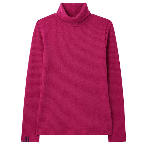 Joules Berry Blush Clarissa Solid Roll Neck Jersey Top