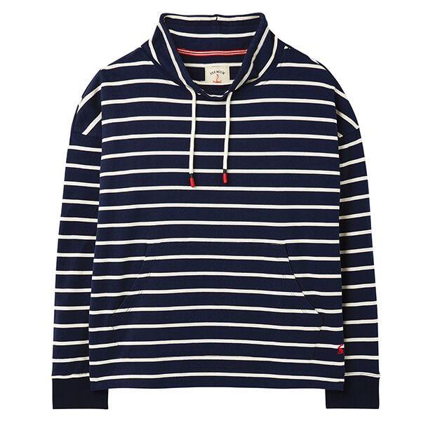 Joules Navy Cream Stripe Harlton Funnel Neck Sweatshirt