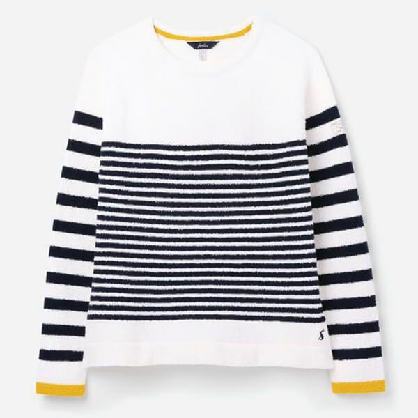 Joules Cream Navy Stripe Seaport Chenille Jumper