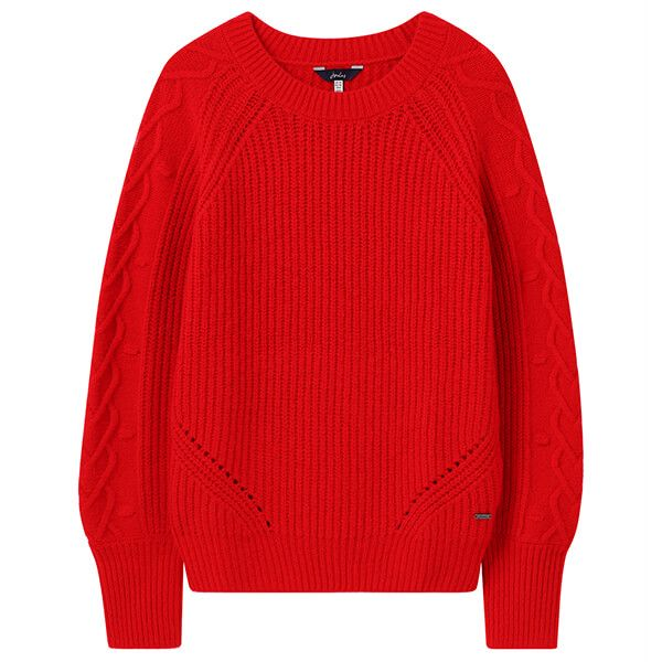 Joules Red Loretta Heart Cable Jumper