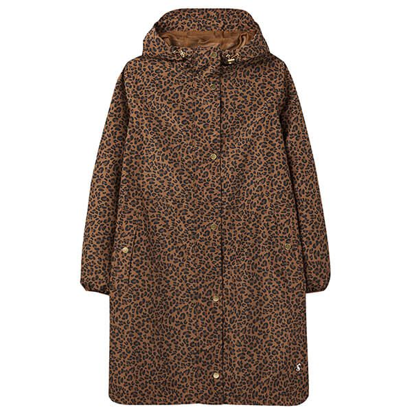 Joules Tan Leopard Waybridge Print Waterproof Packable Raincoat