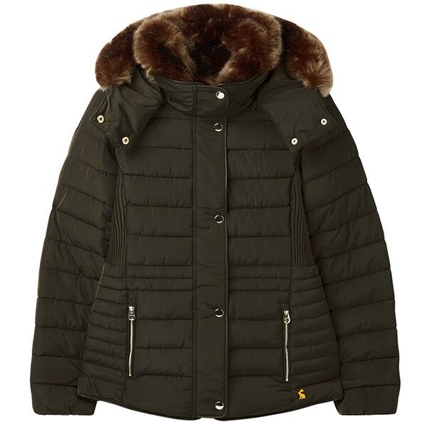 Joules Heritage Green Gosway Fur Trim Padded Coat