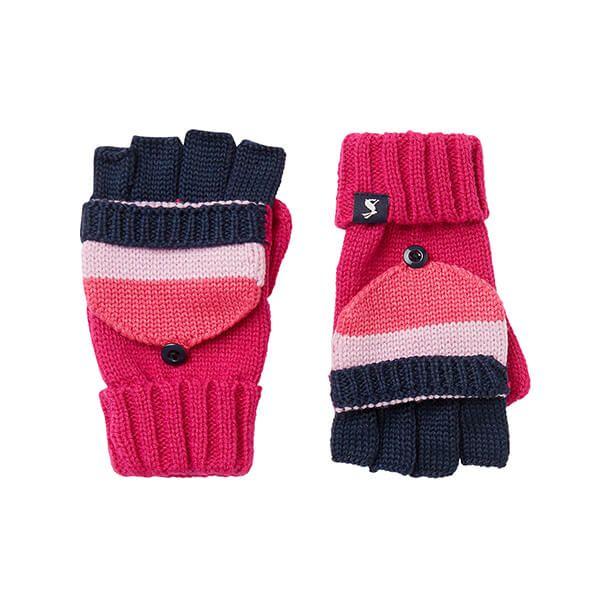 Joules Pink Bobble Converter Gloves