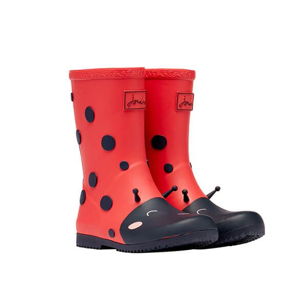 Joules Red Lady Bug Roll Up Flexible Printed Wellies