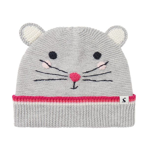 Joules Grey Mouse Chummy Character Knitted Hat