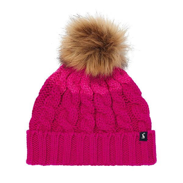 Joules Pink Knitted Hat with Pom