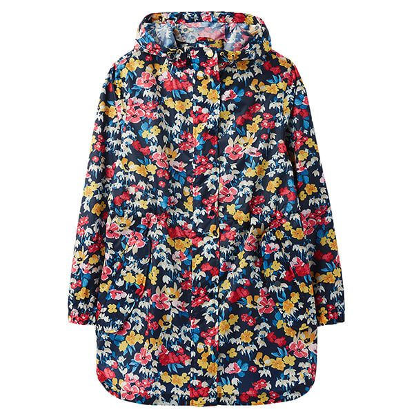 Joules Navy Floral Golightly Printed Waterproof Packable Jacket