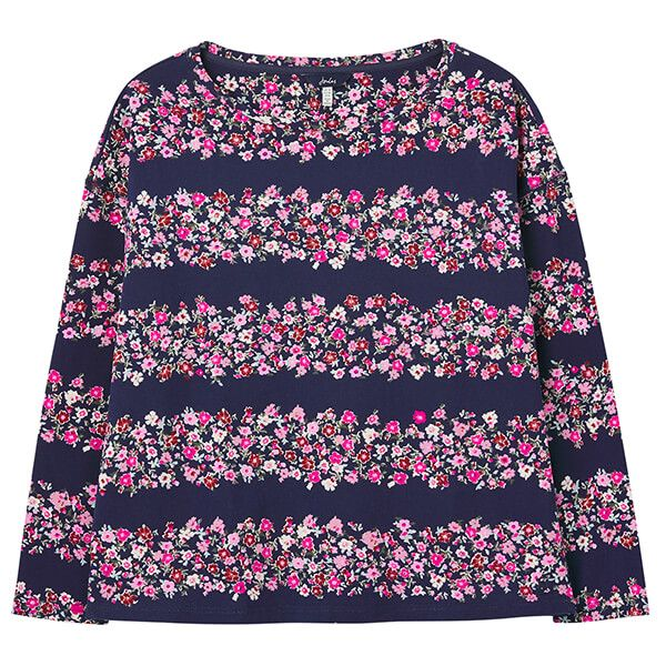 Joules Navy Ditsy Marina Print Dropped Shoulder Jersey Top