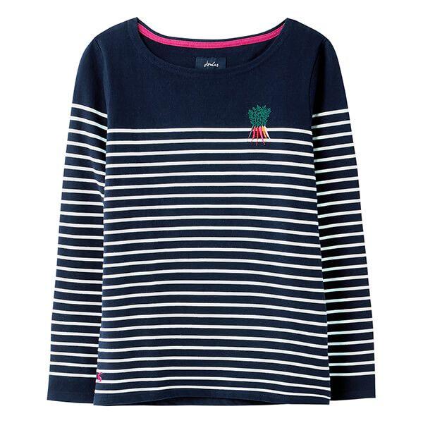 Joules Navy Cream Stripe Harbour Long Sleeve Jersey Top