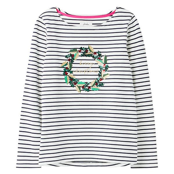 Joules Christmas Wreath Harbour Luxe Long Sleeve Jersey Top