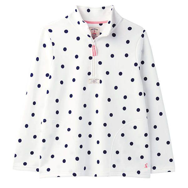 Joules Cream Spot Pip Spot Print Half Zip Sweatshirt