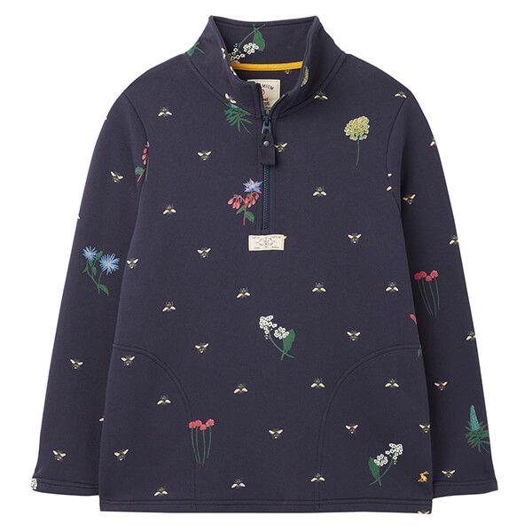 Joules Navy Pollen Pip Print Casual Half Zip Sweatshirt